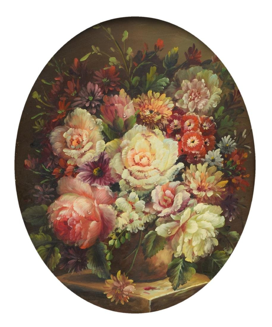 Unsigned, a still life with flowers, oil on panel, 20,5