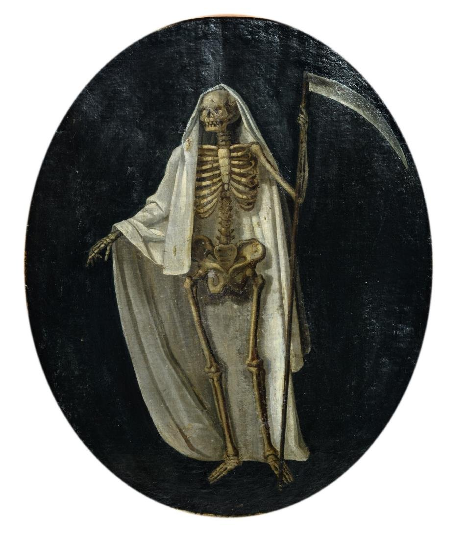 Unsigned, a double-sided painting depicting the Grim