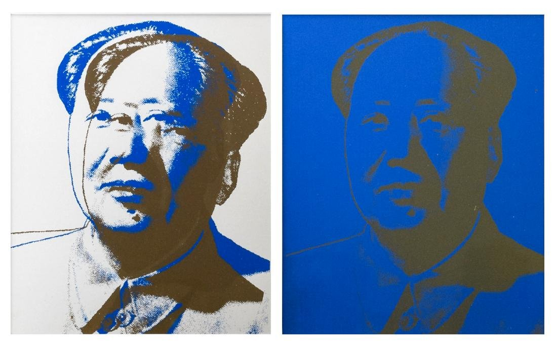 Two worked silkscreens after Andy Warhol's 'Mao',24 x