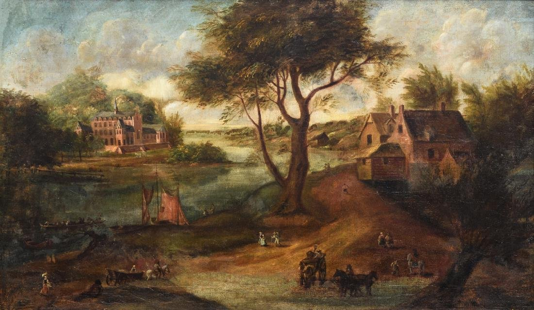 Unsigned, a rural view with an abbey, oil on canvas,