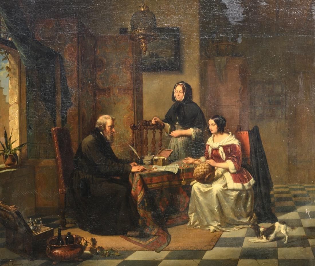 Cornet A., 'Chez l'usurier', oil on panel, dated 1852,