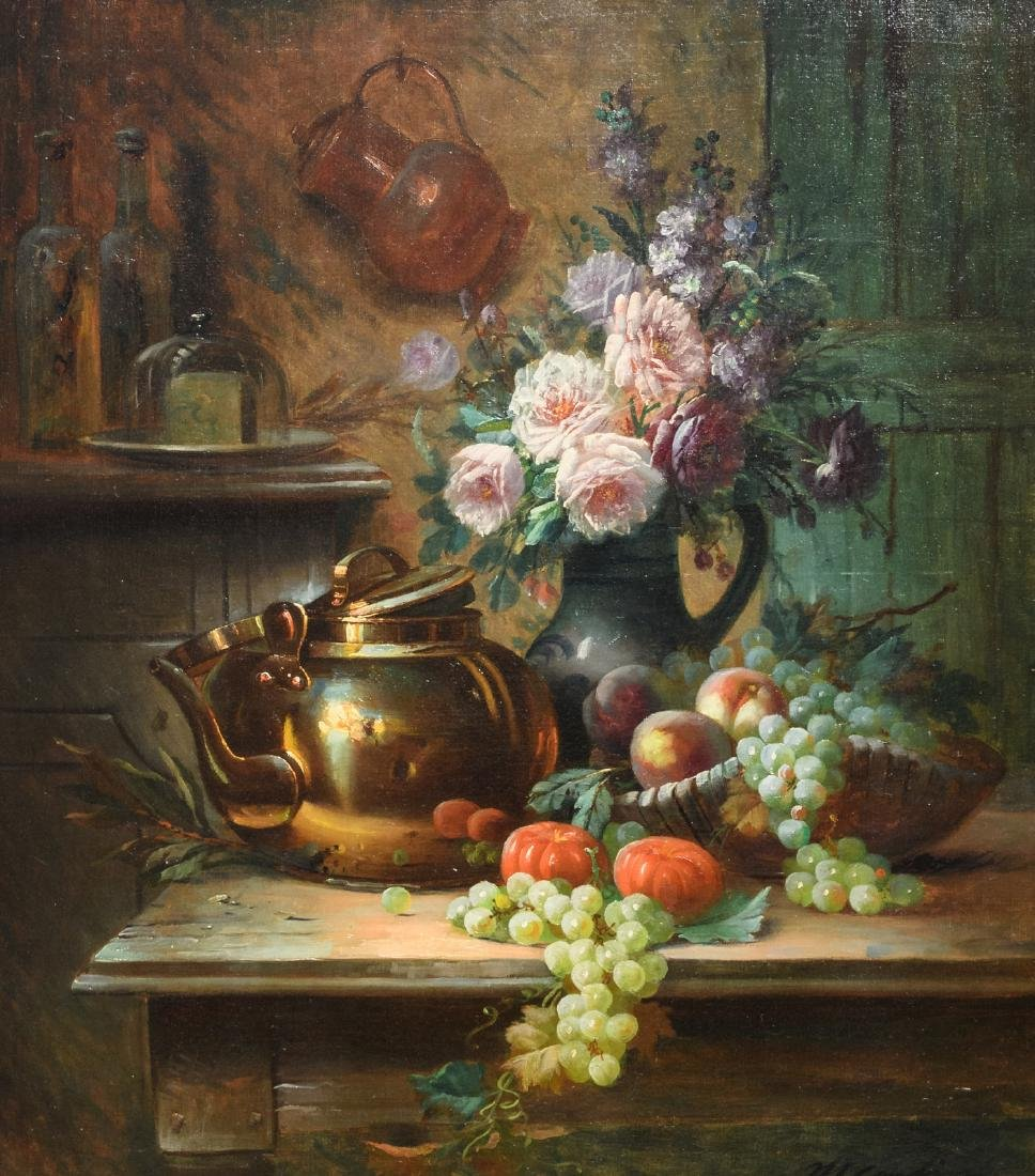 Carlier M., a still life with flowers and a water