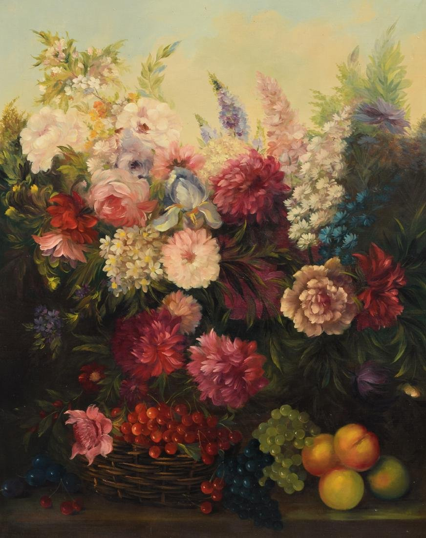 Carlier M., a still life with flowers, oil on canvas,