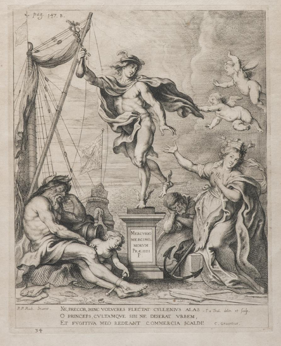A 17thC engraving after Rubens depicting an allegorical