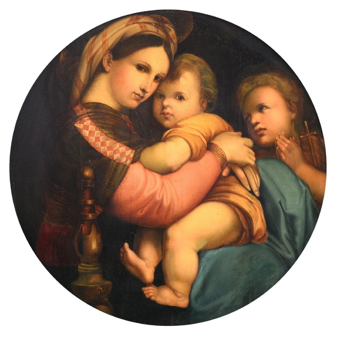 Raphael (after), Madonna delle seggiola, oil on panel,