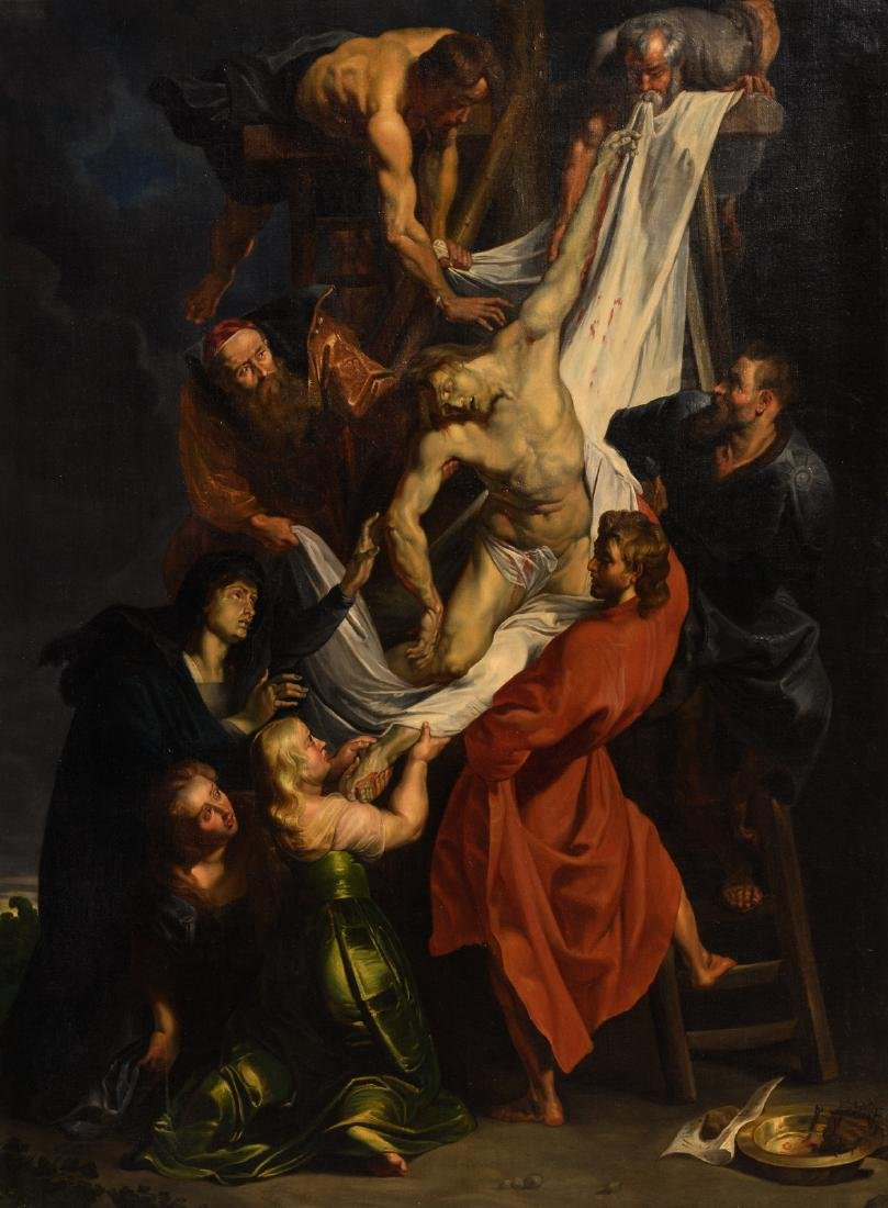 Unsigned, the descent from the cross after Rubens, oil
