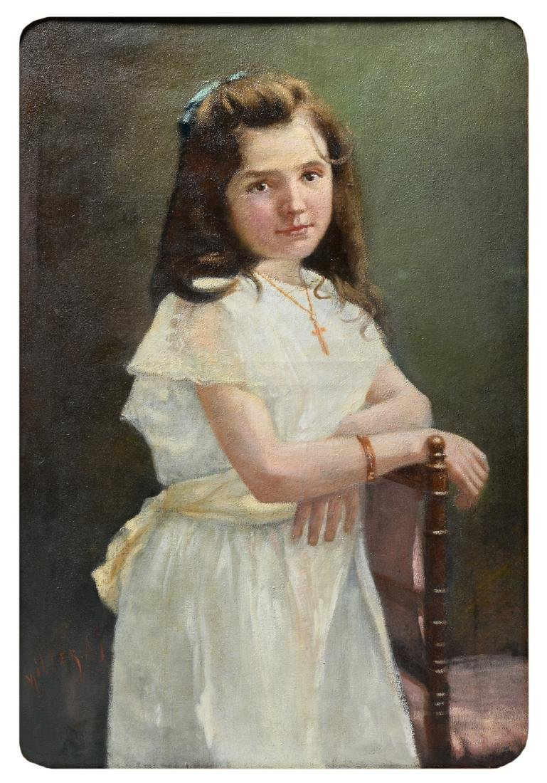 Miller A.J., a portrait of a girl, oil on canvas, first