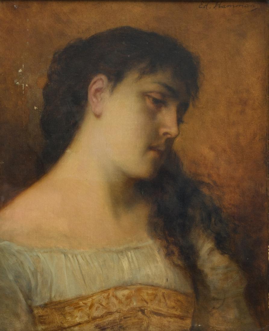 Hamman E., a portrait of a woman, oil on canvas, second