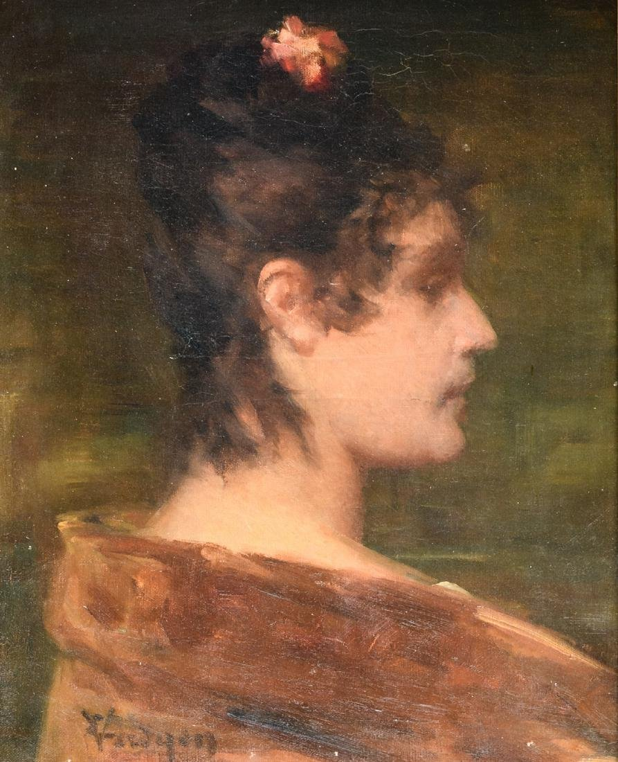 Verdyen E., a profile portrait of a Spanish lady, oil