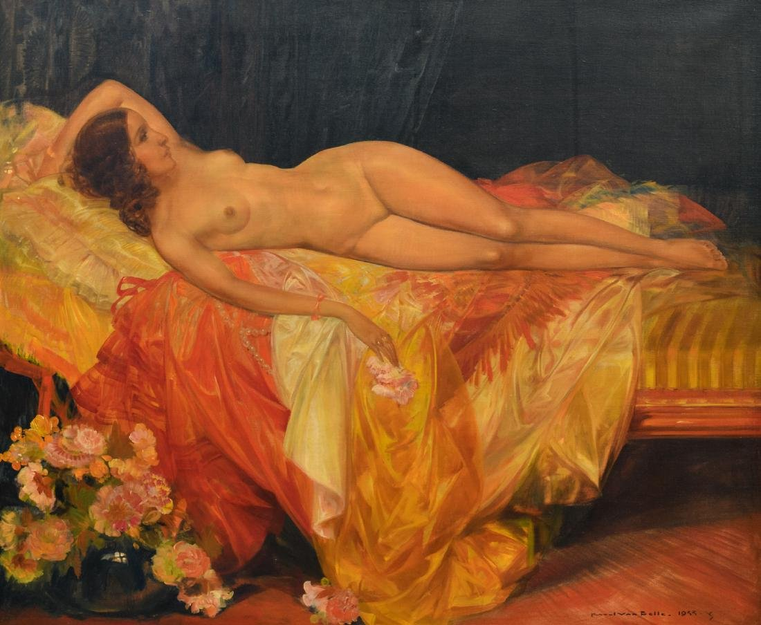 Van Belle K., a lying nude, oil on canvas, dated 1933,