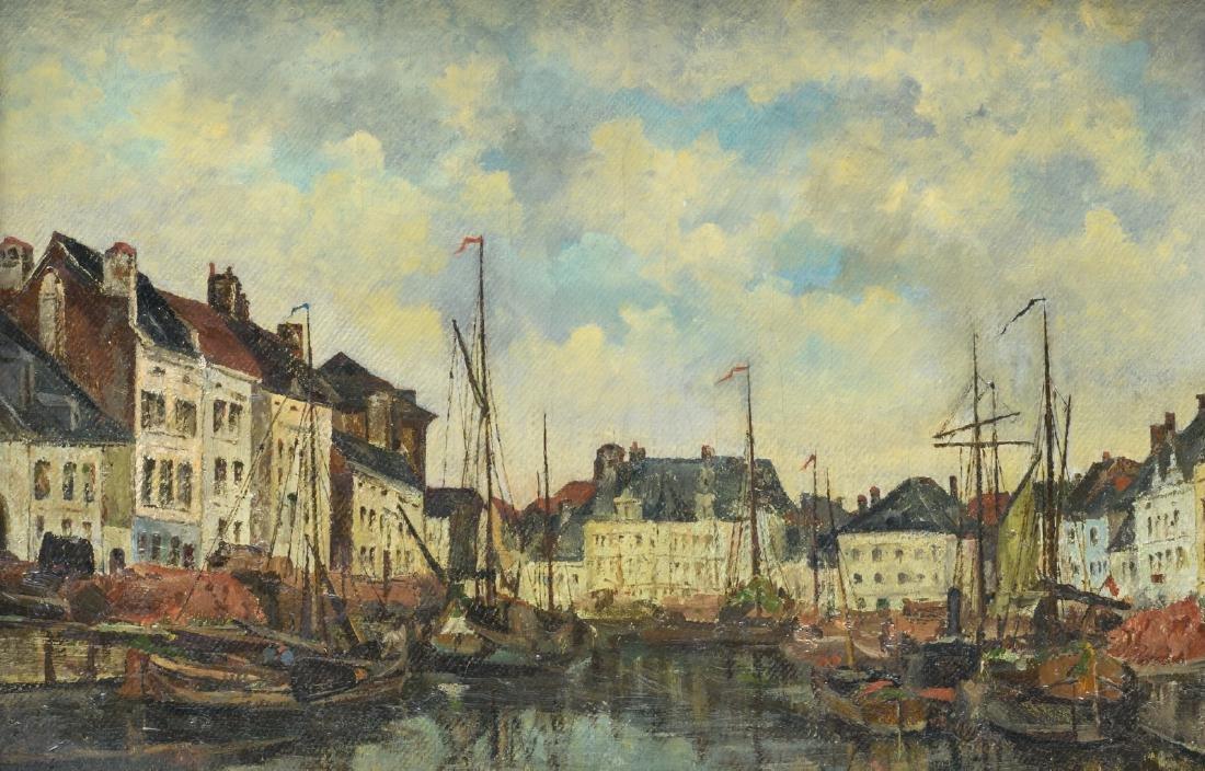 Monogrammed E.B. (Boudin E.?), 'Bassin en Flandre', oil