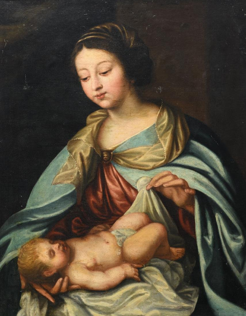 Unsigned, Our Lady and Child, oil on canvas, 17thC, 65