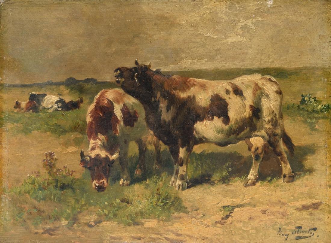 Schouten H.,cattle in a landscape, oil on panel, 24 x