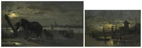 Moerenhout E., two nocturnes entitled 'Le vieux moulin'