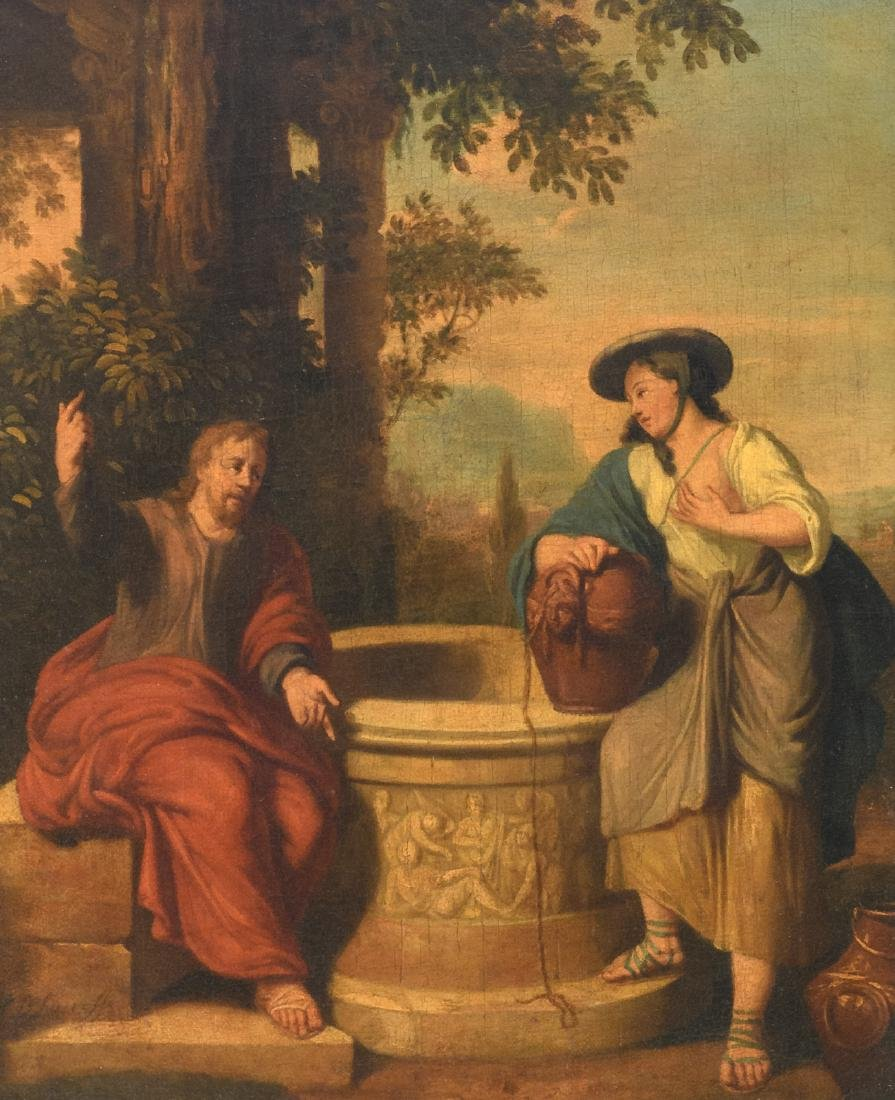 Unsigned, Jesus and the Samaritan woman, oil on canvas,
