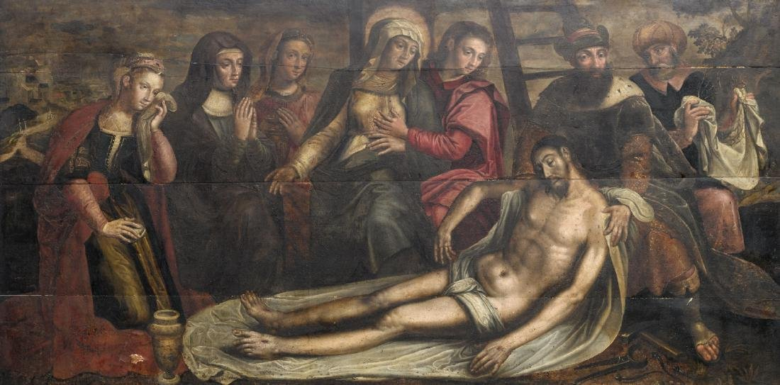Unsigned, the lamentation of Christ, oil on panel, late