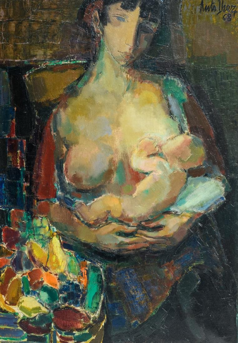 Diez A., mother and child, oil on canvas, dated (19)68,