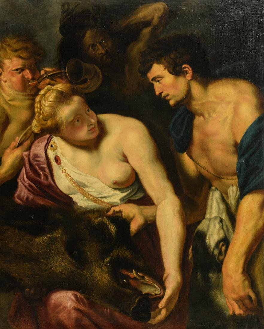 Unsigned, Meleager and Atalanta after Rubens, oil on