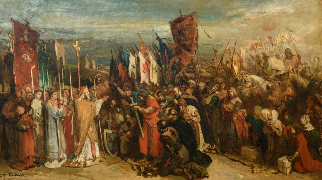 (Portaels J.), the blessing before the battle, oil on