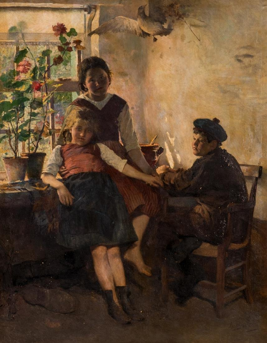 Boudry A., youngsters in a sunlit interior, oil on