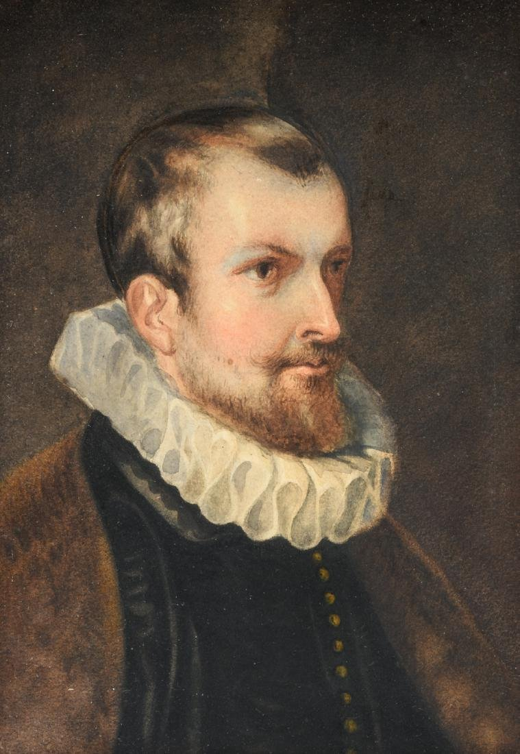 Traces of a signature lower left (?), a portrait of a