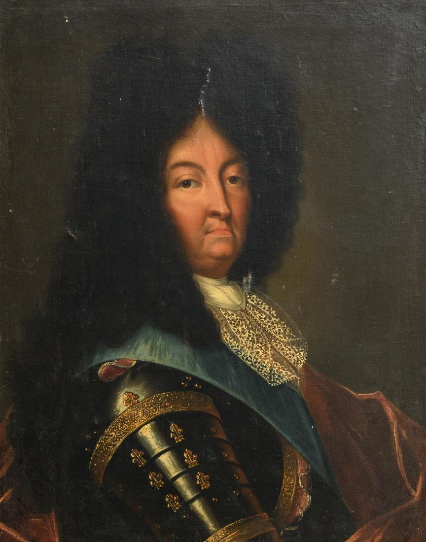 Unsigned, a portrait of Louis XIV, oil on canvas,