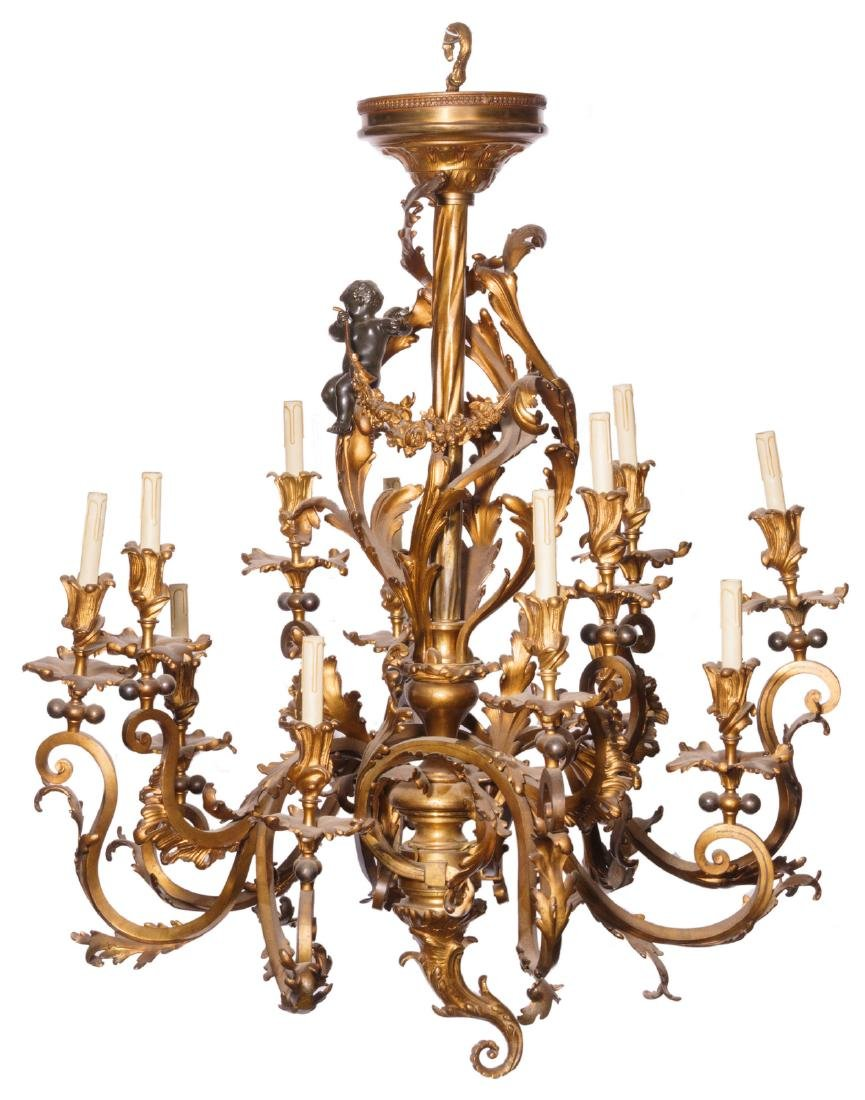 A 19thC Rococo style gilt and patinated bronze
