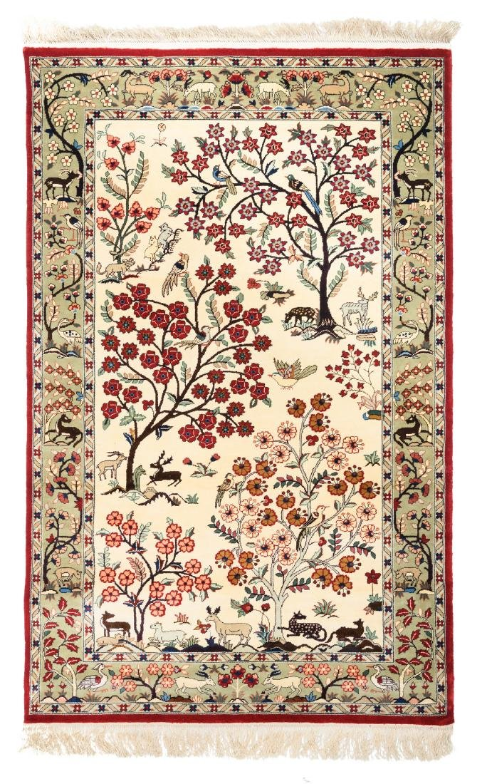 An Oriental carpet, silk and wool on cotton, floral