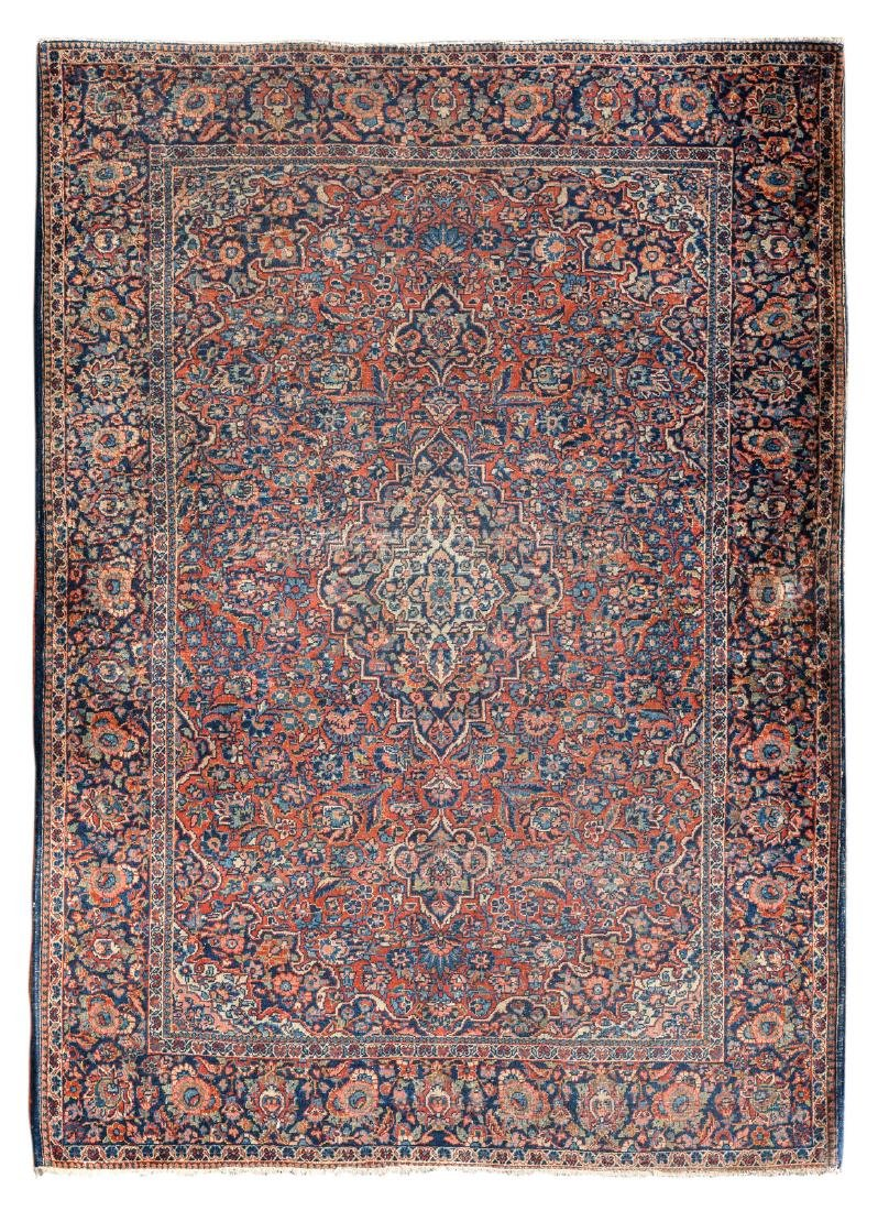 An Oriental carpet, wool on cotton, decorated with