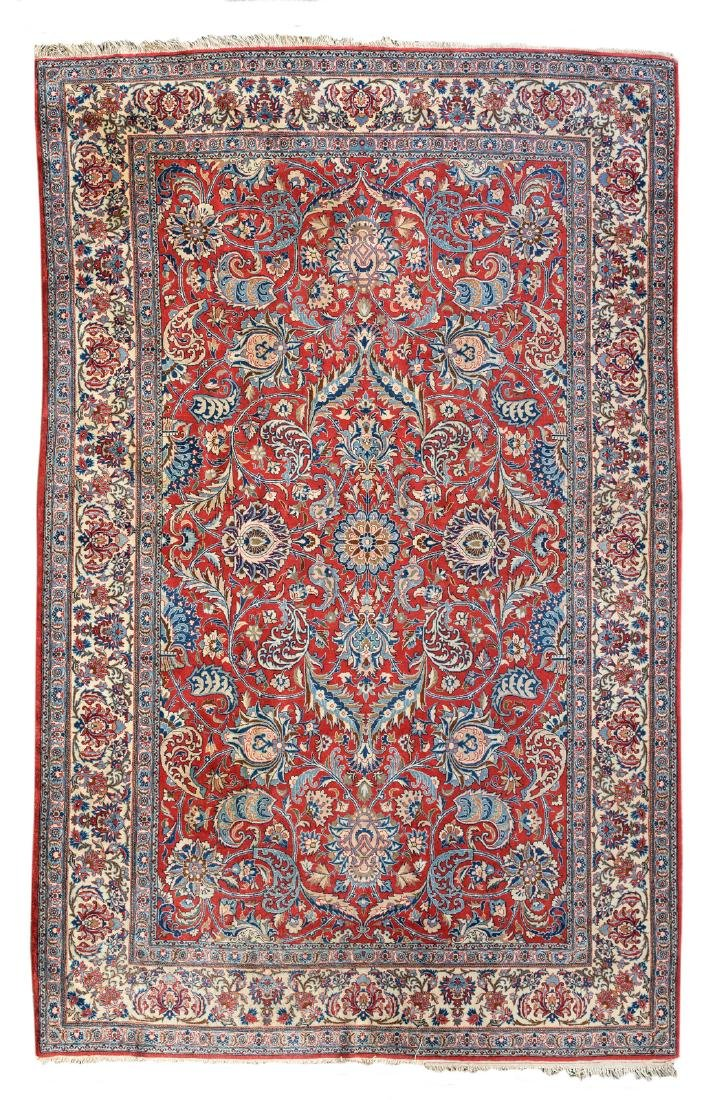 Persian rug, wool on cotton, with floral motifs, 149 x