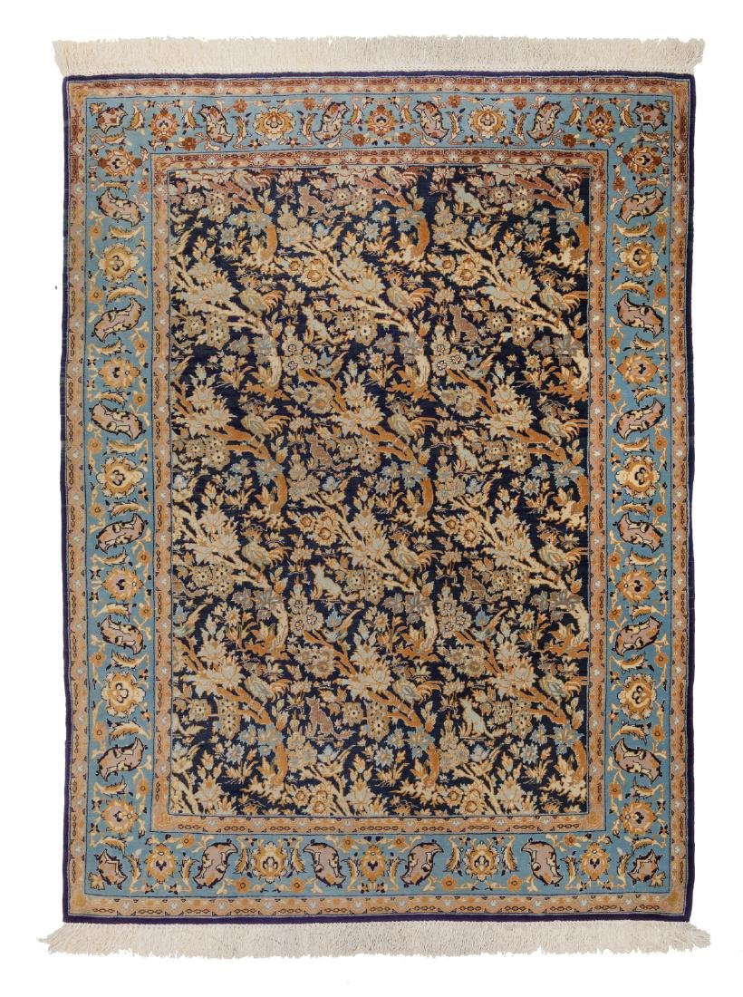 An Oriental rug, wool and silk on cotton, Isfahan,