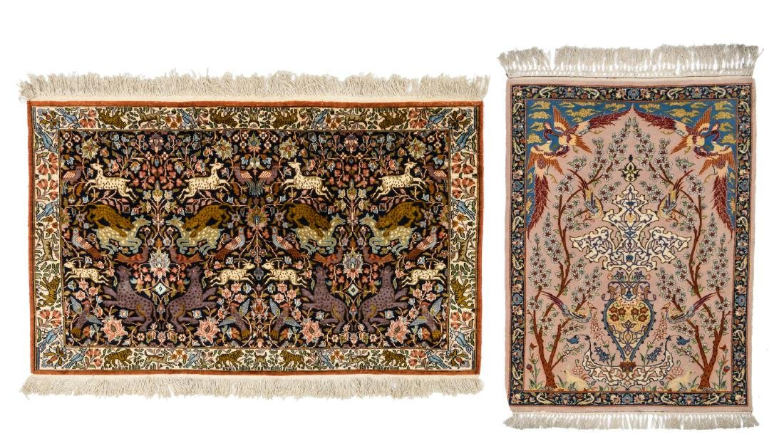 Two Oriental carpets, wool and silk on cotton,