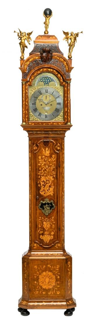 A Dutch longcase clock with floral marquetry, the case