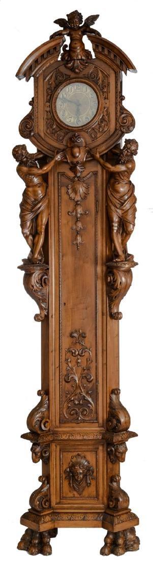 A fine Renaissance revival Italian walnut longcase