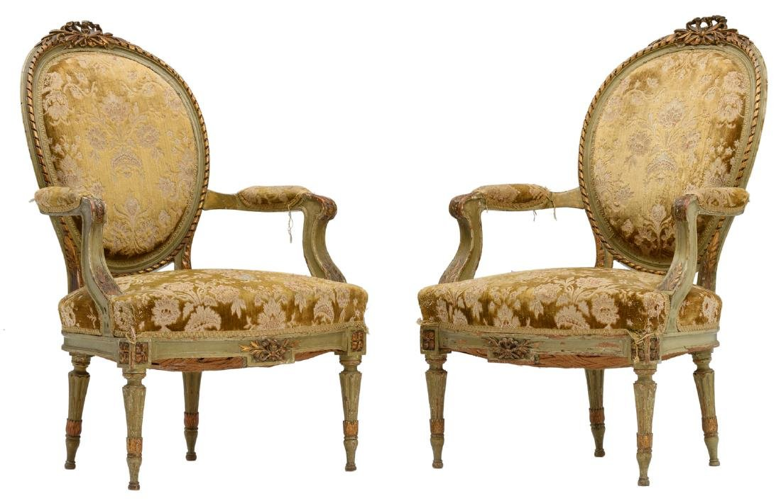 Two Neoclassical cabriolet armchairs with backrest en