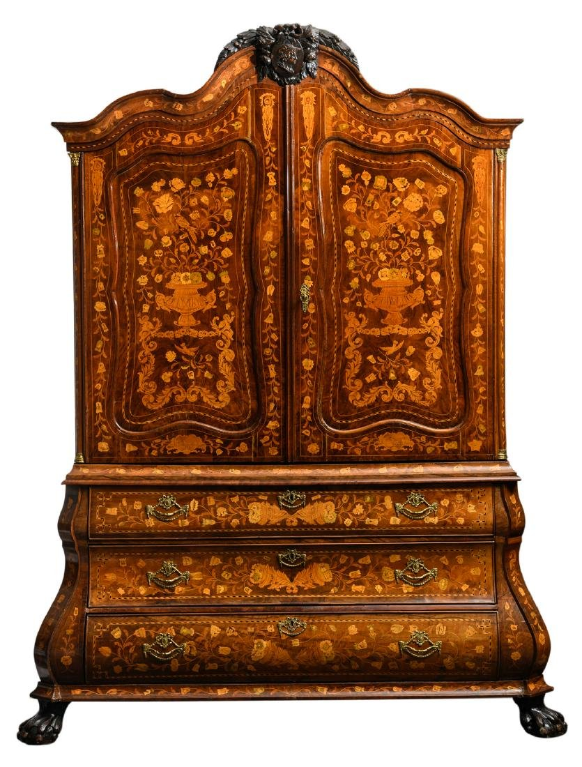 A second half of the 18thC Dutch cabinet with floral
