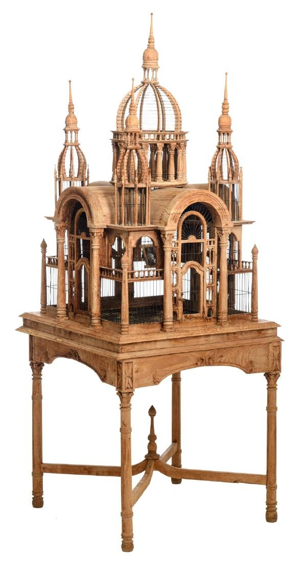 A 19thC probably sandalwood Oriental bird cage, H 191 -