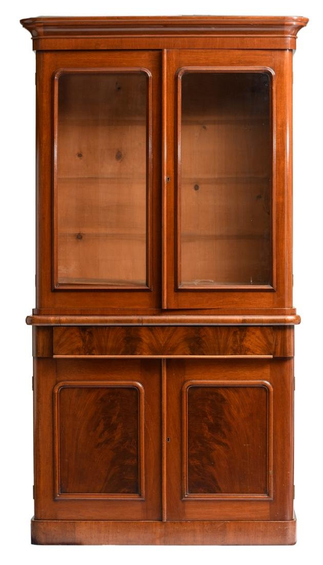 A second half of the 19thC mahogany library bookcase, H