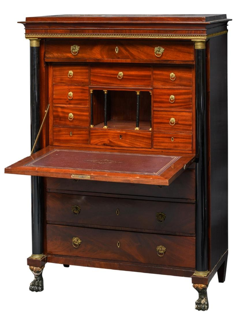 An early 19thC Neoclassical mahogany secretaire à