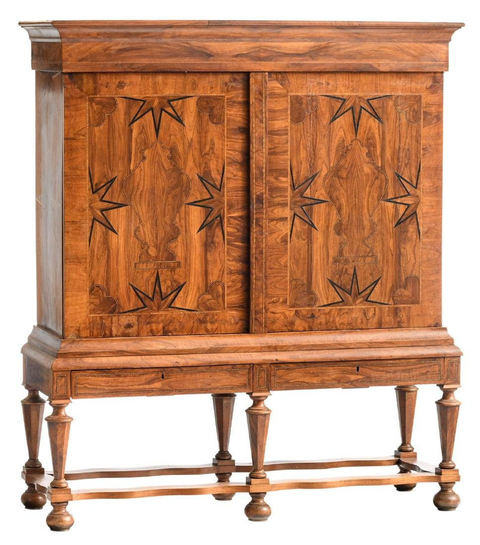 A first half of the 18thC Dutch walnut veneered cabinet