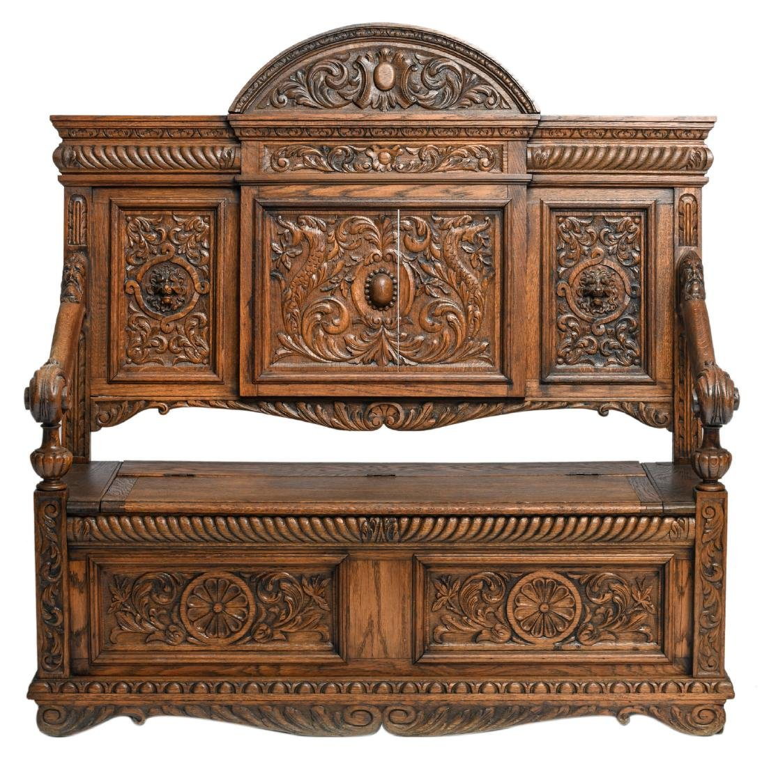 An oak Renaissance revival coffer bench seat, H 141,5