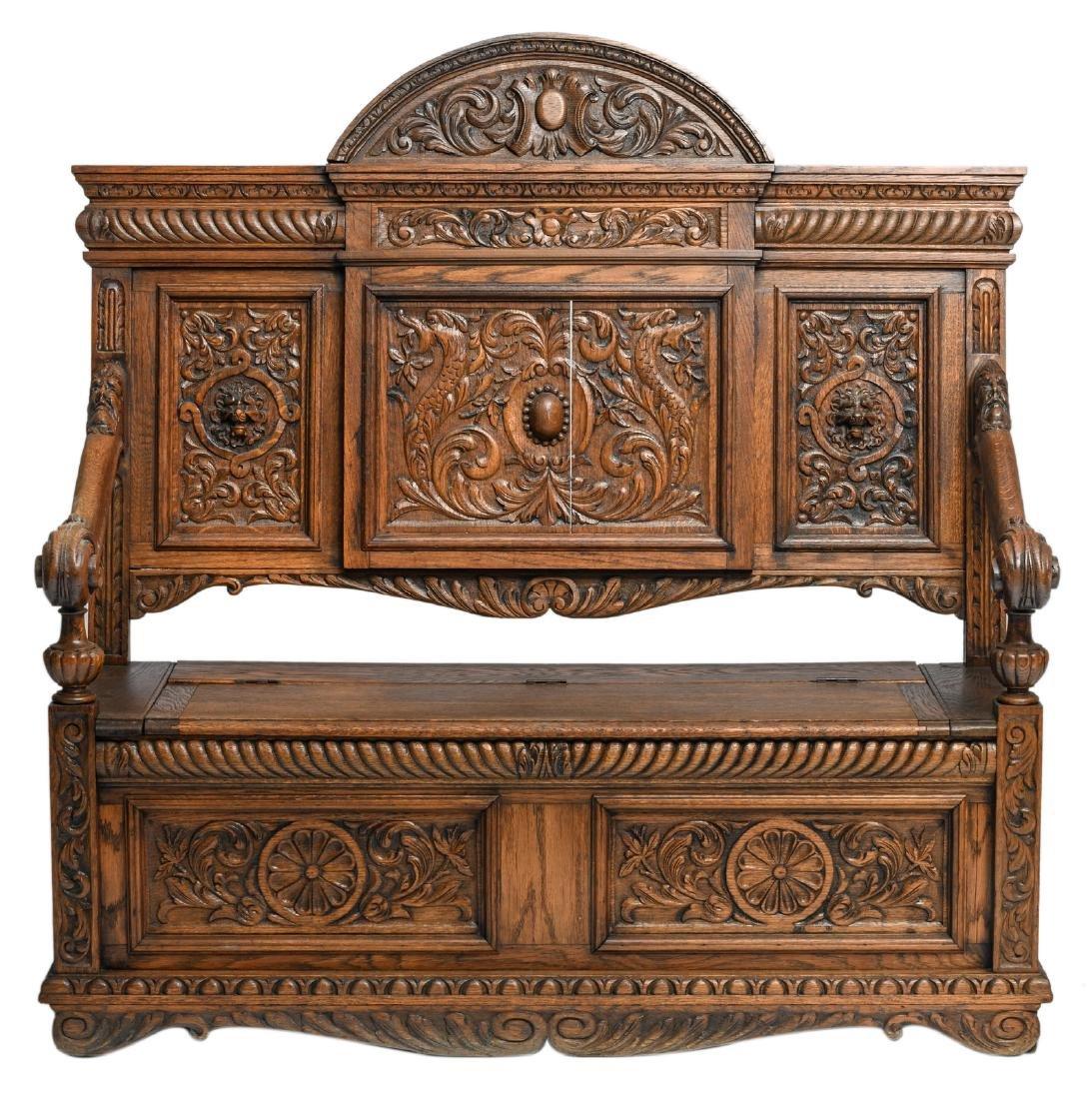 An oak Renaissance revival coffer bench seat,H 141,5