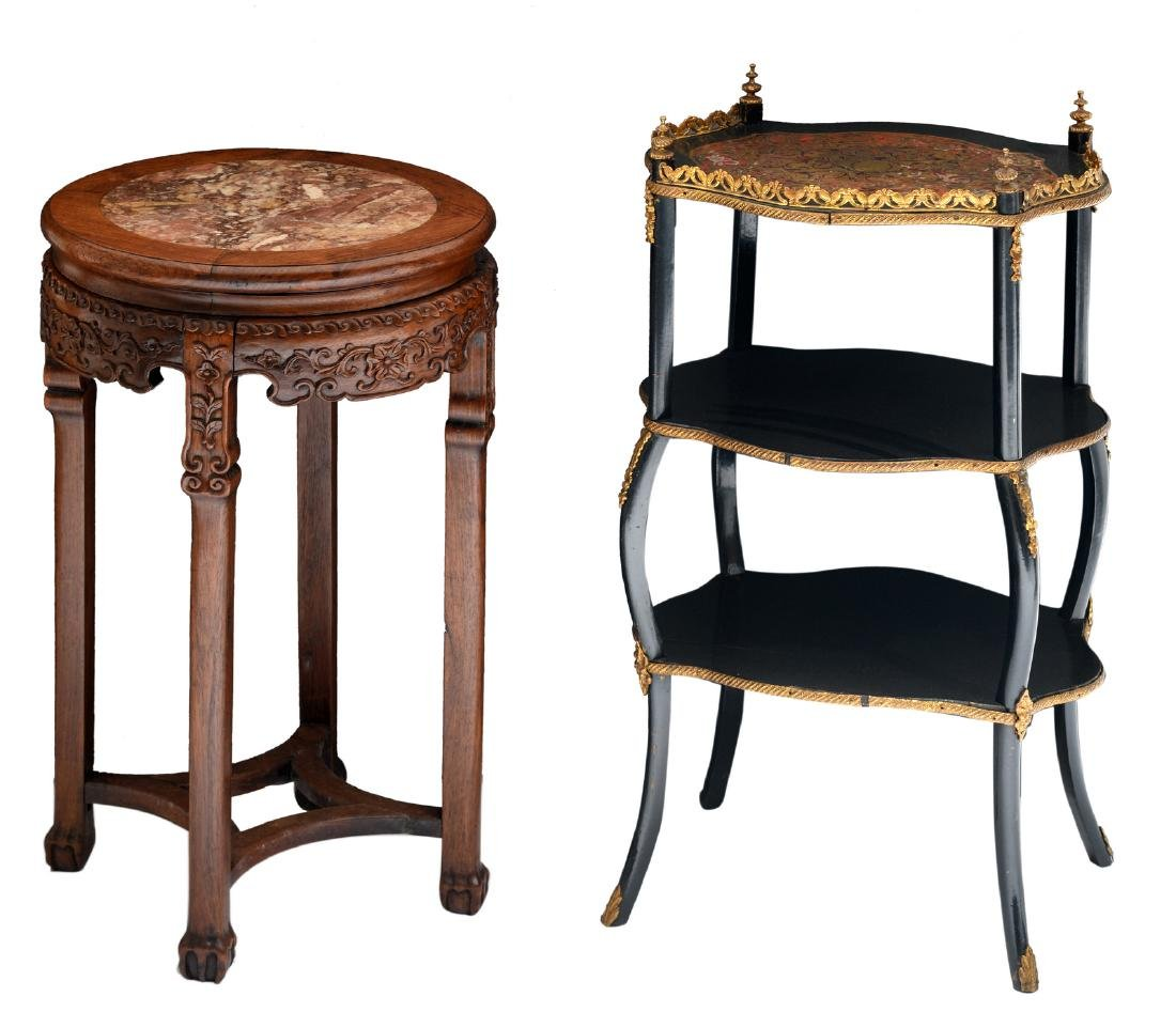 A Historism Boulle occasional table; added an Oriental