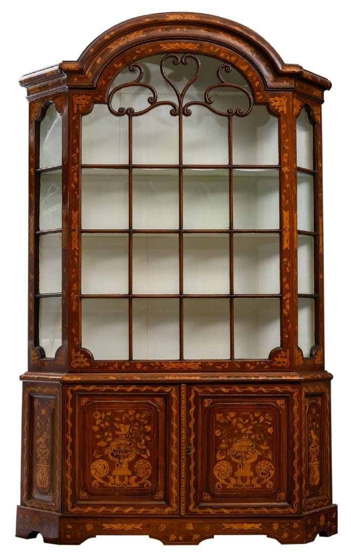 An 18thC Dutch mahogany marquetry display cabinet, H
