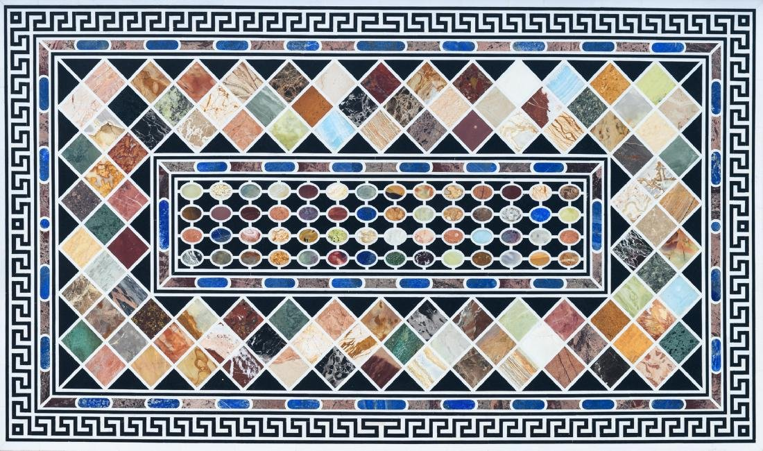 A large table top in Italian pietra dura, the design