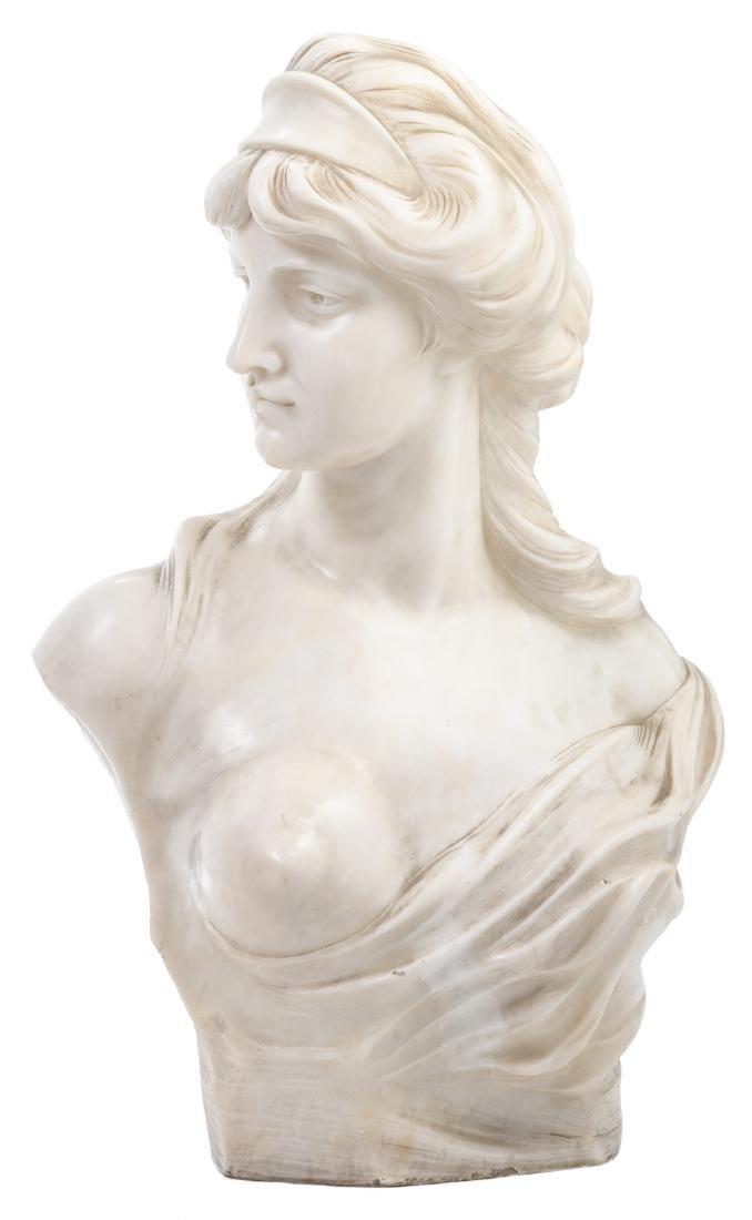 Lambeaux J., a bust of a woman, Carrara marble, H 59 -
