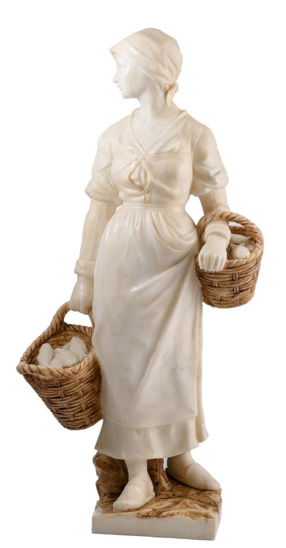 Unsigned, a fisherman's maid, alabaster and patinated