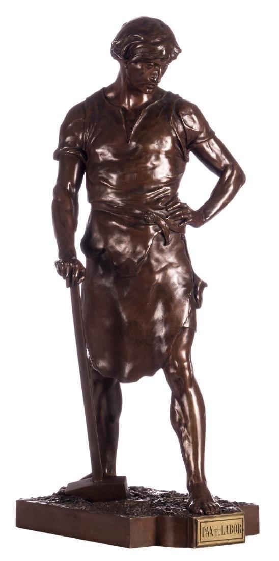 Picault E., 'Pax et Labor', brown patinated bronze,