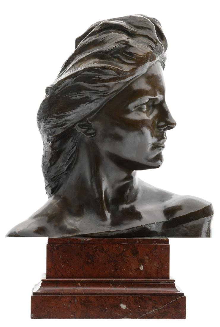 Lambeaux J., a bust of a woman, patinated bronze on a