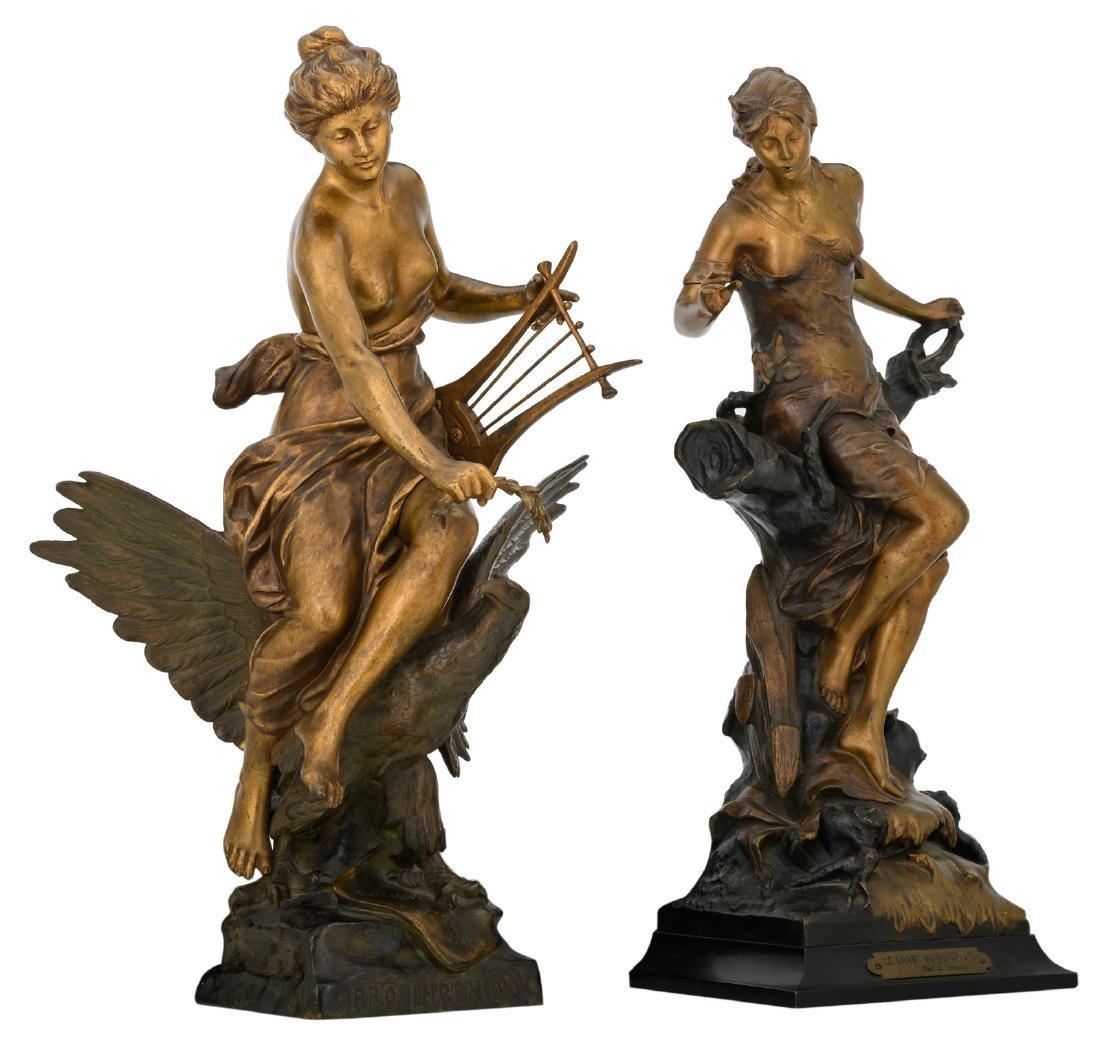 Drouot E., 'Le chant du ruisseau', bronze with various